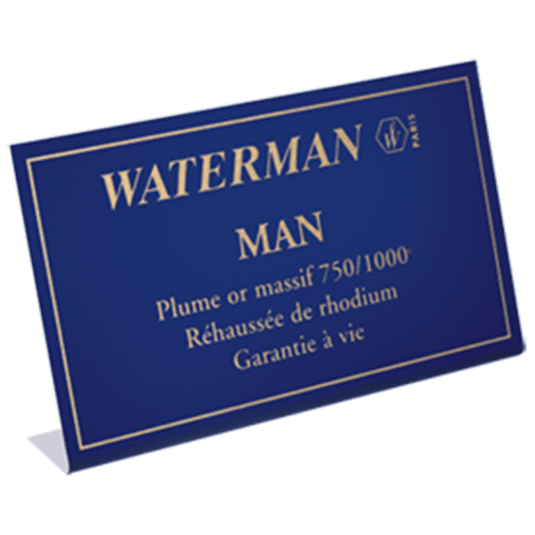 Waterman / Chevalet métal : rappel de marque en plaque aluminium brossé verni et imprimé.