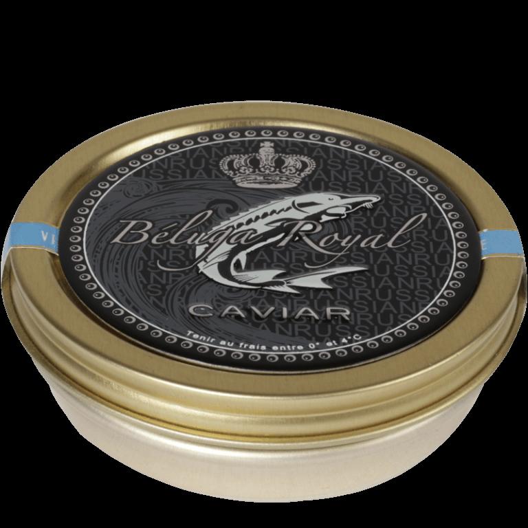 Caviar / Médaillon Aluminium verni incolore, sérigraphie 4 couleurs, embossage du logo et partiel du texte.