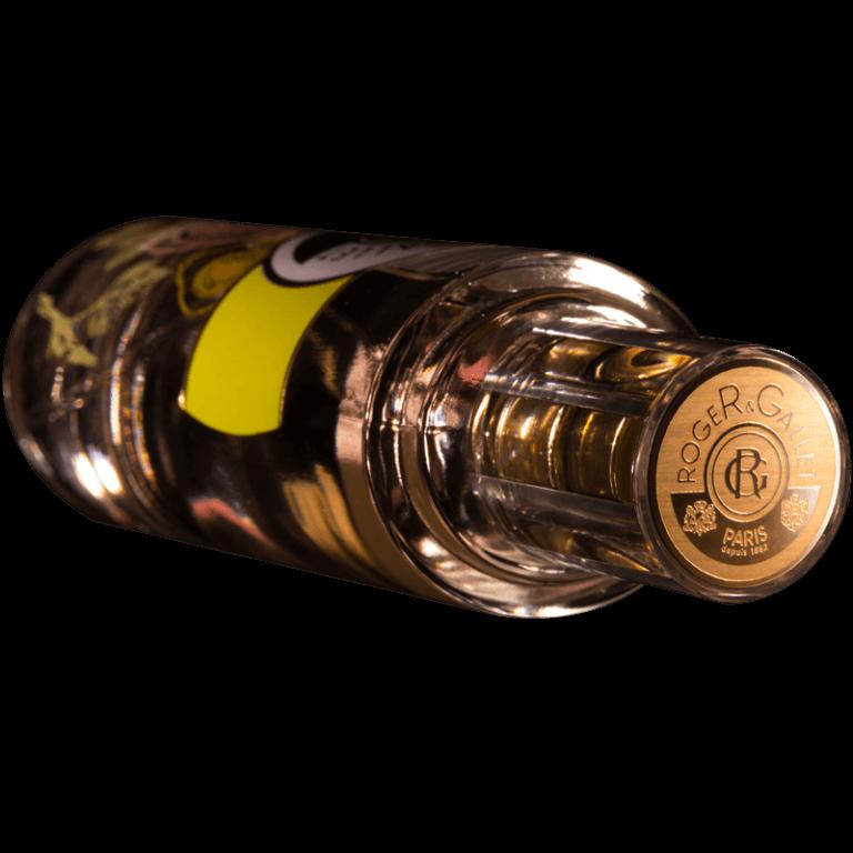 Royer & Gallet / Top de bouchon en plaque aluminium brillant, décor par gravure chimique sur métal, vernis teinté